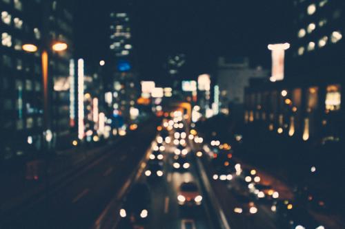 Car traffic on roads at night